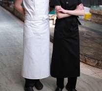 厨师半身围裙长款西餐厅厨师工作围裙黑色半截厨师围裙定制